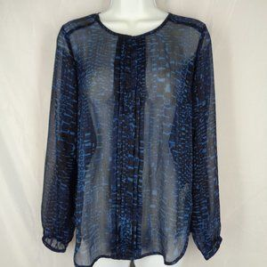 Lucky Brand Blue Sheer Blouse Top Size Small New